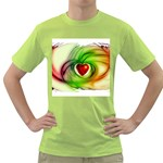 Heart Love Luck Abstract Green T-Shirt Front