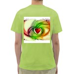 Heart Love Luck Abstract Green T-Shirt Back