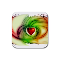 Heart Love Luck Abstract Rubber Coaster (square)  by Pakrebo