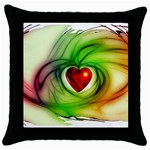 Heart Love Luck Abstract Throw Pillow Case (Black) Front