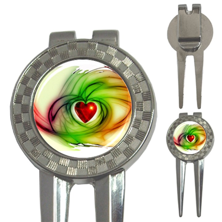 Heart Love Luck Abstract 3-in-1 Golf Divots