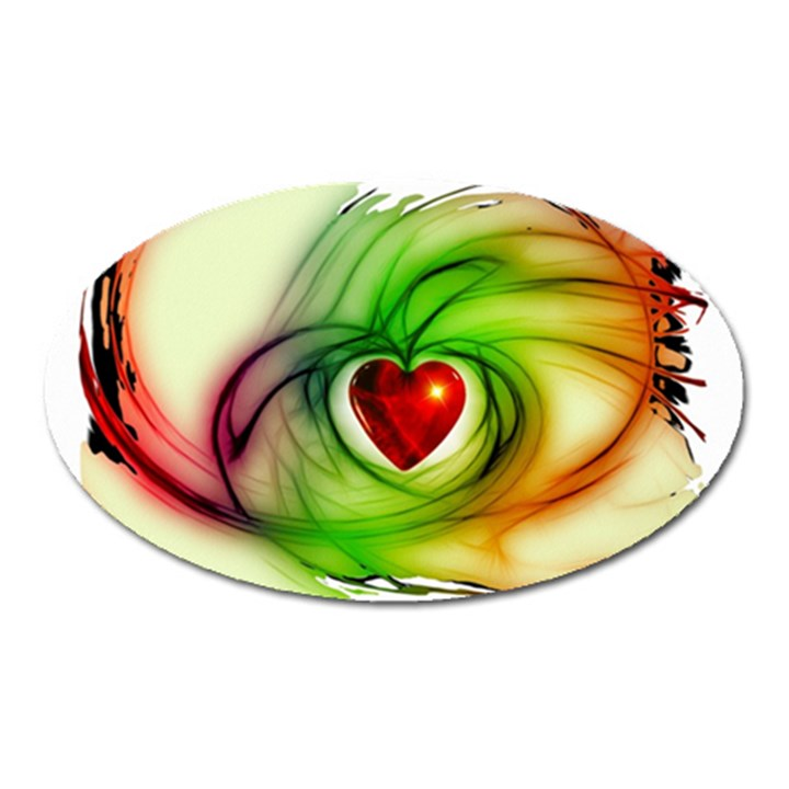 Heart Love Luck Abstract Oval Magnet