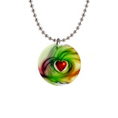 Heart Love Luck Abstract 1  Button Necklace
