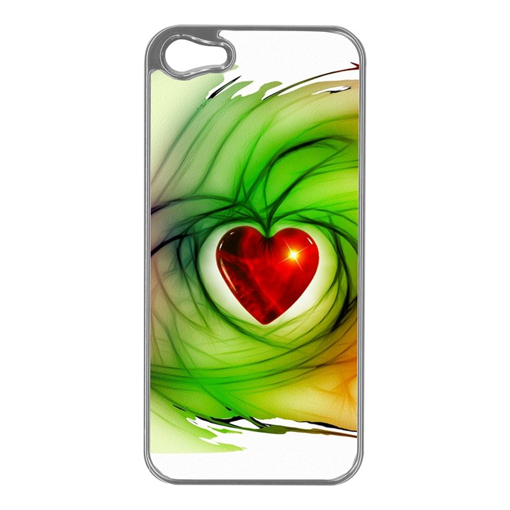 Heart Love Luck Abstract Apple iPhone 5 Case (Silver)