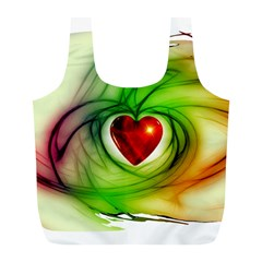 Heart Love Luck Abstract Full Print Recycle Bag (l)