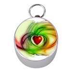 Heart Love Luck Abstract Mini Silver Compasses Front