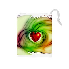 Heart Love Luck Abstract Drawstring Pouch (medium) by Pakrebo