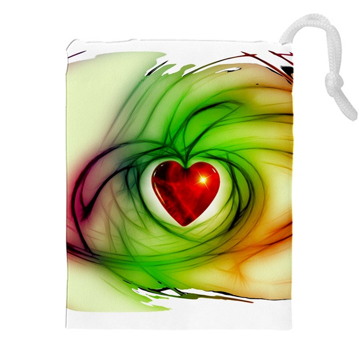 Heart Love Luck Abstract Drawstring Pouch (XXL)