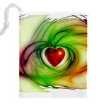 Heart Love Luck Abstract Drawstring Pouch (XXL) Back