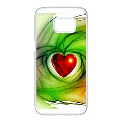 Heart Love Luck Abstract Samsung Galaxy S7 Edge White Seamless Case