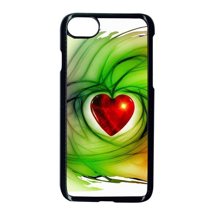 Heart Love Luck Abstract Apple iPhone 7 Seamless Case (Black)