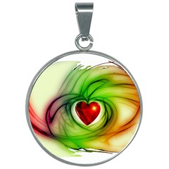 Heart Love Luck Abstract 30mm Round Necklace
