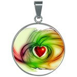 Heart Love Luck Abstract 30mm Round Necklace Front