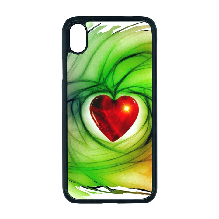 Heart Love Luck Abstract Apple iPhone XR Seamless Case (Black)