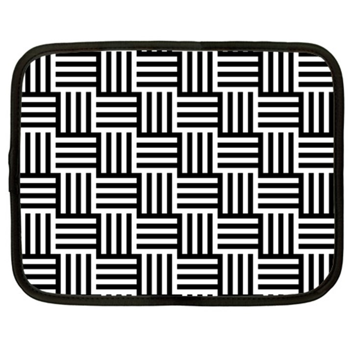 Black And White Basket Weave Netbook Case (Large)
