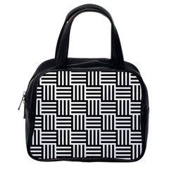 Black And White Basket Weave Classic Handbag (One Side)