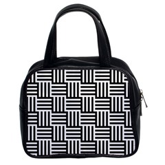 Black And White Basket Weave Classic Handbag (two Sides)
