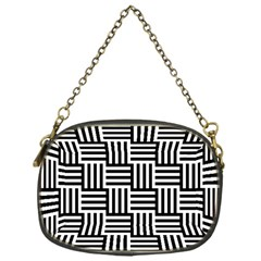 Black And White Basket Weave Chain Purse (One Side)