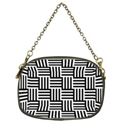Black And White Basket Weave Chain Purse (Two Sides)