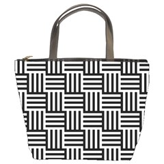 Black And White Basket Weave Bucket Bag