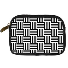 Black And White Basket Weave Digital Camera Leather Case