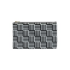 Black And White Basket Weave Cosmetic Bag (Small)