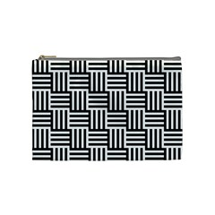 Black And White Basket Weave Cosmetic Bag (Medium)