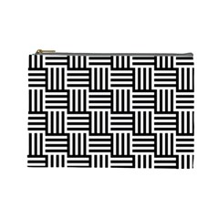 Black And White Basket Weave Cosmetic Bag (Large)