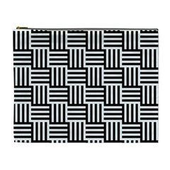 Black And White Basket Weave Cosmetic Bag (xl)