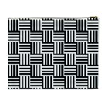 Black And White Basket Weave Cosmetic Bag (XL) Back