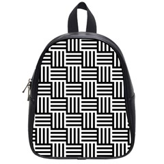Black And White Basket Weave School Bag (Small)