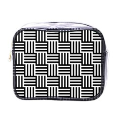 Black And White Basket Weave Mini Toiletries Bag (One Side)