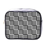 Black And White Basket Weave Mini Toiletries Bag (One Side) Front