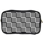 Black And White Basket Weave Toiletries Bag (One Side) Front