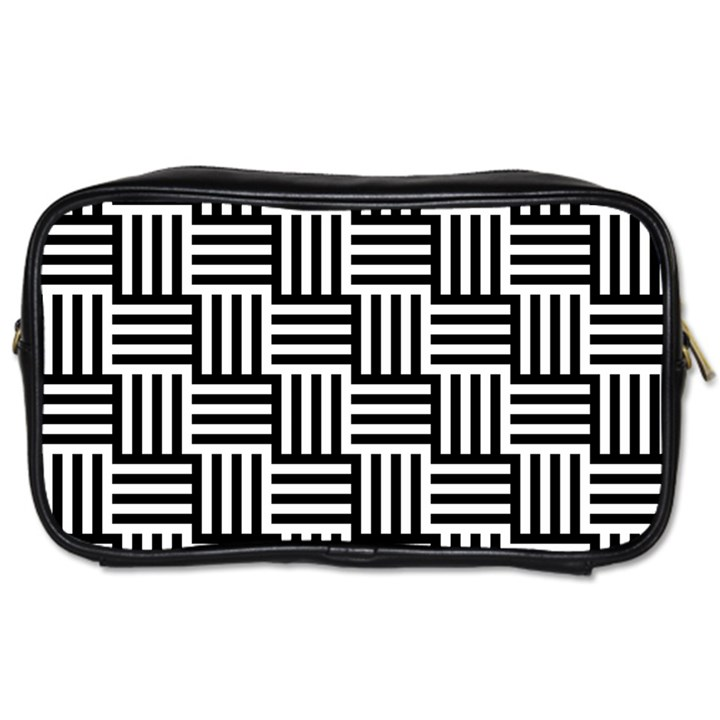 Black And White Basket Weave Toiletries Bag (One Side)