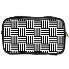 Black And White Basket Weave Toiletries Bag (Two Sides)