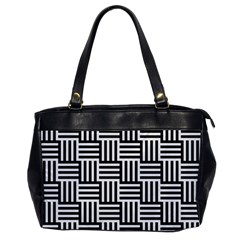 Black And White Basket Weave Oversize Office Handbag