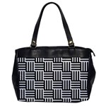 Black And White Basket Weave Oversize Office Handbag Front
