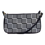 Black And White Basket Weave Shoulder Clutch Bag Front