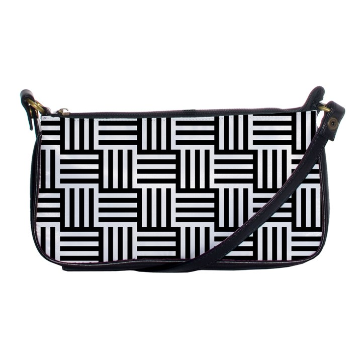 Black And White Basket Weave Shoulder Clutch Bag