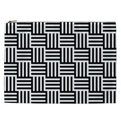 Black And White Basket Weave Cosmetic Bag (XXL)