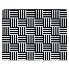 Black And White Basket Weave Cosmetic Bag (XXXL)