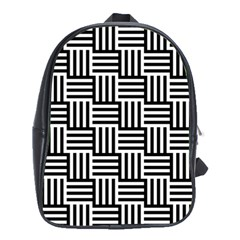 Black And White Basket Weave School Bag (XL)