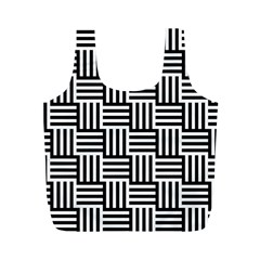 Black And White Basket Weave Full Print Recycle Bag (M)