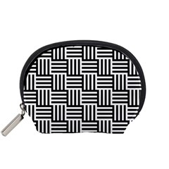Black And White Basket Weave Accessory Pouch (Small)