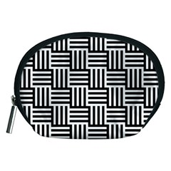 Black And White Basket Weave Accessory Pouch (Medium)