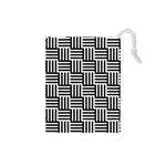 Black And White Basket Weave Drawstring Pouch (Small) Front