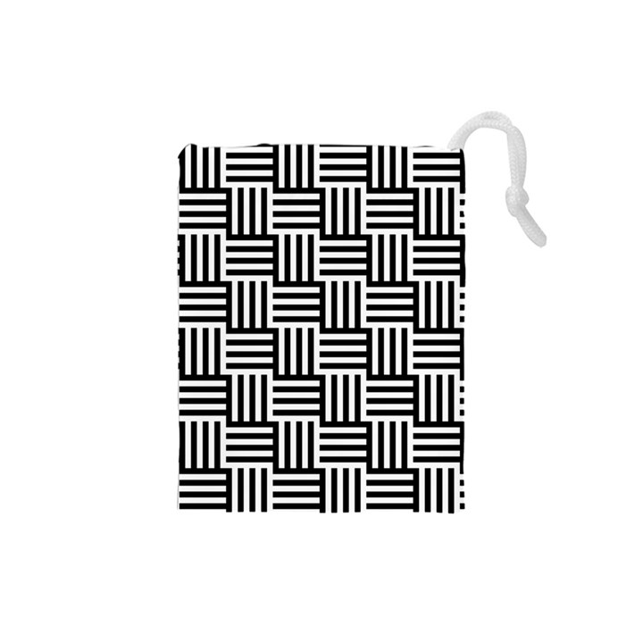 Black And White Basket Weave Drawstring Pouch (Small)