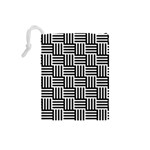Black And White Basket Weave Drawstring Pouch (Small) Back
