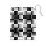 Black And White Basket Weave Drawstring Pouch (Large) Front